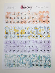 Date Dots - Multi Watercolour Effect