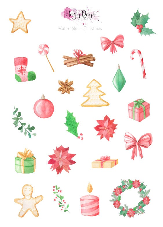 Christmas Watercolour Decorative Planner Stickers
