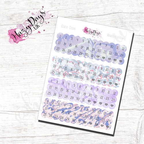 Date Dots - Lilac Watercolour Effect