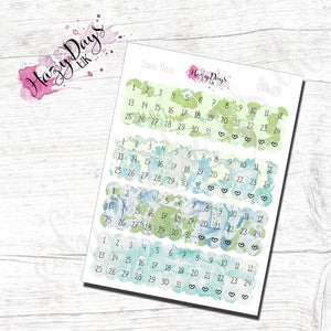 Date Dots - Green Watercolour Effect