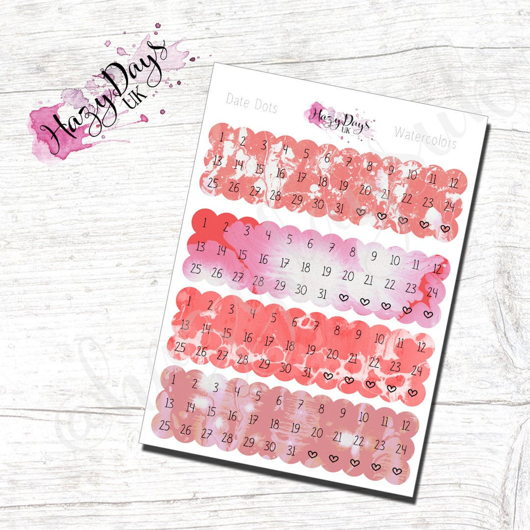 Date Dots - Red Watercolour Effect