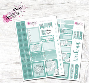 Geometric Mandala - Teal - Personal Planner Sticker Kit