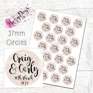 Blush Floral Personalised Wedding Confetti Stickers