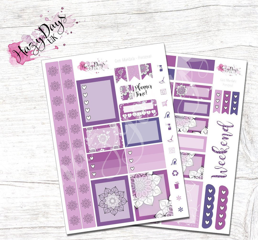 Geometric Mandala - Purple - Personal Planner Sticker Kit
