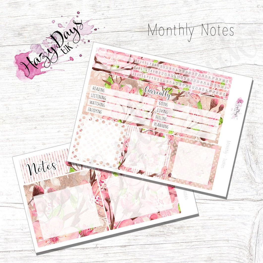 Cherry Blossom - Monthly Note Pages