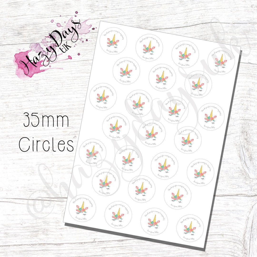Circle Party Bag Stickers - Goody Bag Labels