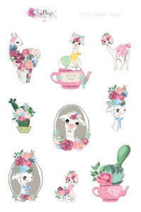 Floral Llamas - Weekly Sticker Kit