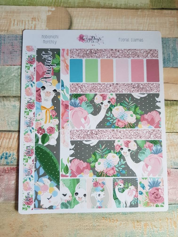 Floral Llamas - Monthly Hobonichi Weeks Sticker Kit