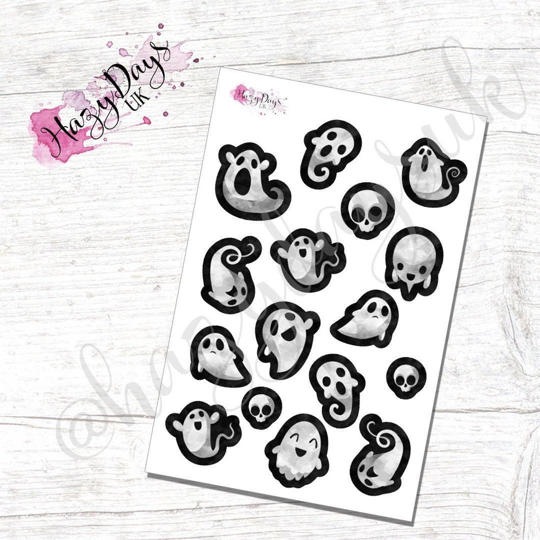 Ghosts, Watercolour Effect Ghost Stickers