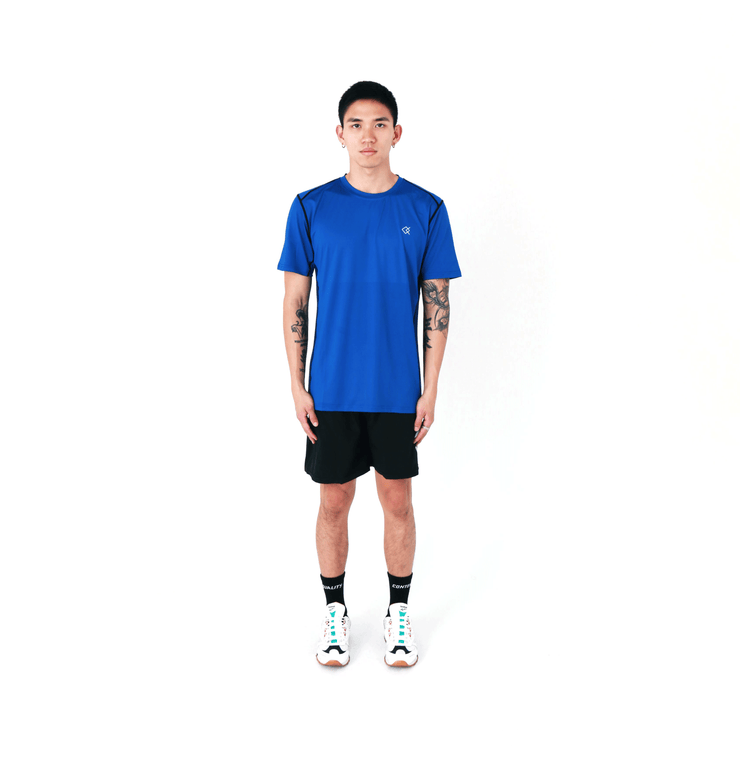 QC Blue and Black Athletic Tee