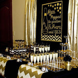 black and gold sweetie & dessert table decor @elloirevents