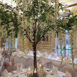 Grean and white floral tree table decoration @elloirevents