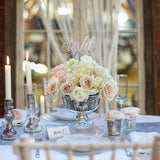 Small pink and white flower decorations silver vase @elloirevents