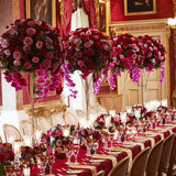 Pink and red table decorations @elloirevents