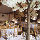 blossom tree decorations with dangling diamante tea light candles @elloirevents