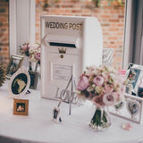 Small white postboxes/letterboxes for weddings @elloirevents