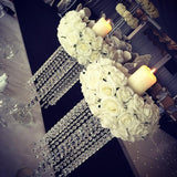 2ft floral candle lit dangling diamond table centrepieces @elloirevents