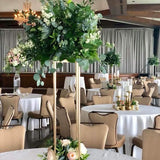Green and white table decorations 4ft @elloirevents