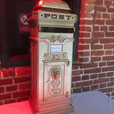 Classy gold postbox for events hire @elloirevents