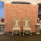 baby pink asian flower walls @elloirevents