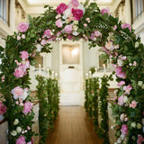 Pink Floral oval bouquet archway @elloirevents