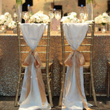 gold ribbon white chair covers @elloirevents