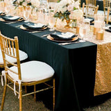Black square table cloths for hire