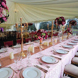 Pink emboidered table cloth for hire @elloirevents