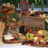 rustic wood cheese tables for wedding hire @elloirevents