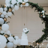 balloon floral halo arch cake stands @elloirevents