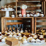 rustic wooden food and sweetie tables @elloirevents