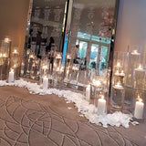 tables seating plan mirrored with tea lights and petals @elloirevents