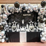 silver and black balloons childrens space party @elloirevents