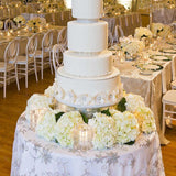 White Floral Matching Cake Table and Cake @elloirevents