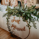 green wreaths 'just married' wedding party decorations @elloirevents