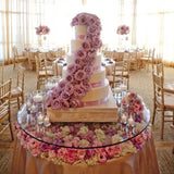 Glass cake tables with floweres inside @elloirevents