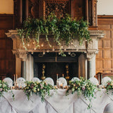 Greenery Wreath floral head table centrepieces and decorations @elloirevents
