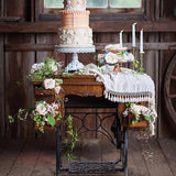 Old fashioned wooden cake table @elloirevents