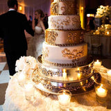 Gold and White cake table decorated @elloirevents