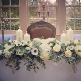 Large medival floral wedding head table decorations @elloirevents