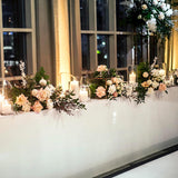 Straight long wedding top table floral decorations @elloirevents