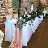 Pink and green wreath leafy and floral wedding top table decorations/centrepieces @elloirevents