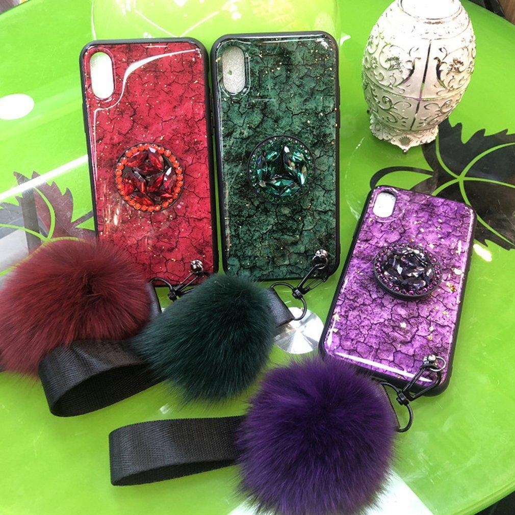 Cracked Emerald Marble Mobile Phone Shell With Hairballs Phone Case Phone