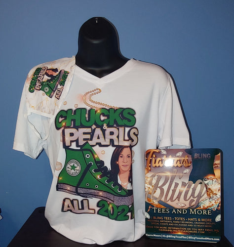 Chucks and Pearls T-Shirt. Multiple Image Colors Available.