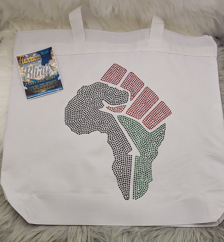 Africa-Shaped Fist Tote Bag