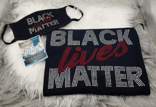 Rhinestone Black Lives Matter Shirt and Adult Mask (Script)