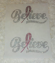 "Load image into Gallery viewer, Mask Believe Breast Cancer Ribbon Rhinestone Transfer Size 4.9"" x 2.7."" Comes 2 Per Sheet."