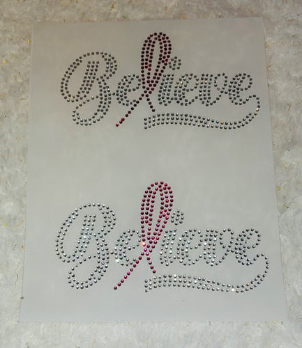Mask Believe Breast Cancer Ribbon Rhinestone Transfer Size 4.9