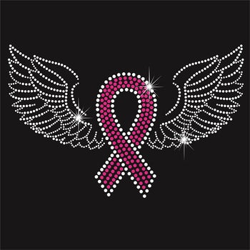 Breast Cancer Ribbon with Wings Rhinestone Transfer Size 11.3
