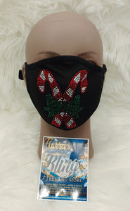 Candy Cane Rhinestone Face Mask